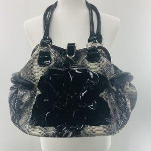 Black White Snake Skin Flower Purse Bag Satchel